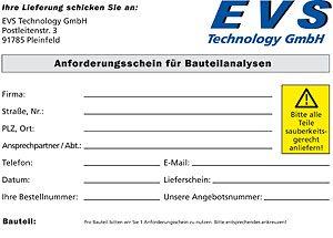 EVS-Anforderungsschein für Bauteilanalysen